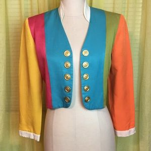 VTG Posh 80s Saks 5th Ave Block Cropped Rad Coat